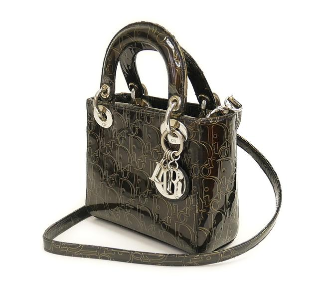 Item - Lady Christian Monogram Trotter Mini Brown Patent Leather Cross Body Bag