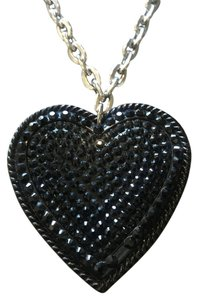 Tarina Tarantino Black Swarovski crystal Large heart pendant necklace