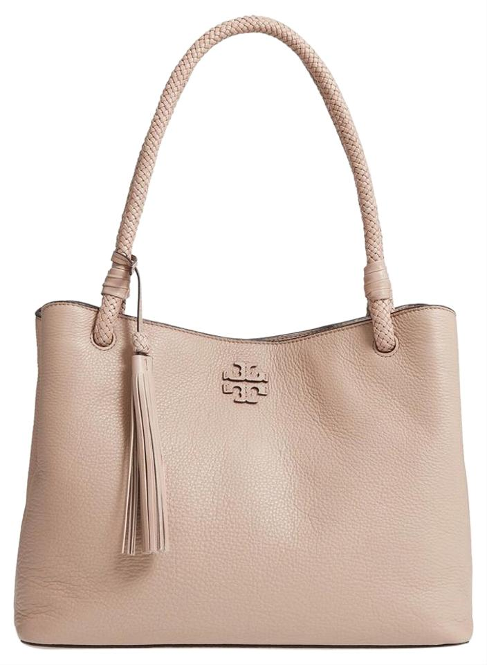 7033d5327d Tory Burch Pebbled Leather Fringe Boho Woven Tote in Soft Clay Image 0 ...