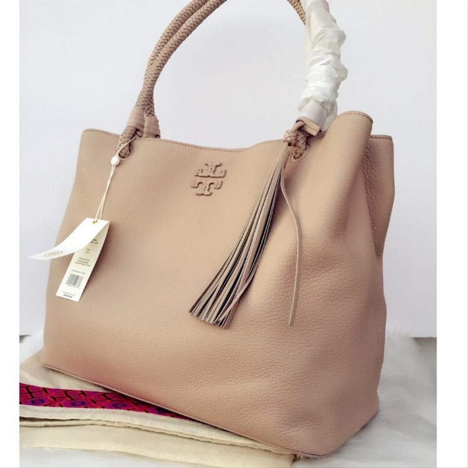 ec475f78aca Tory Burch Pebbled Leather Fringe Boho Woven Tote in Soft Clay Image 7.  12345678