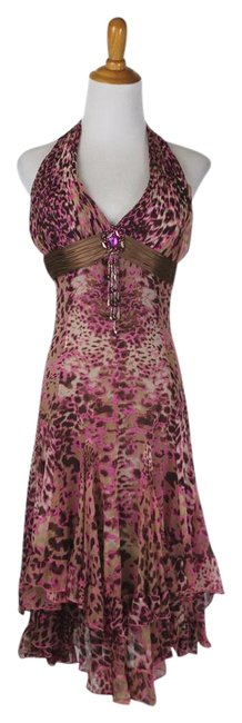 Item - Pink Diane Freis Vintage Leopard Silk 1920's Inspired Beaded Mid-length Formal Dress Size 4 (S)