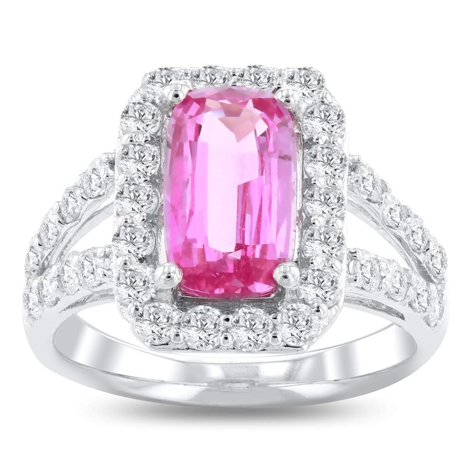 Platinum 2.76ct Rare Unheated Pink Sapphire and 1.18ctw Diamond ...