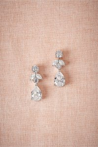 BHLDN Silver Crystal Petit Drop Earrings
