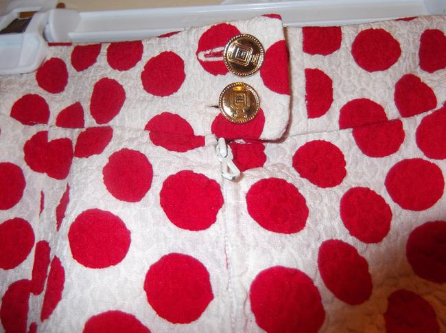 Chanel Vintage Red and White Polka Dot Skirt Suit Gold CC Logo Perfume Bottle Buttons