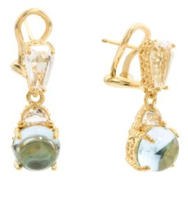 Judith Ripka JUDITH RIPKA 925 ST SILVER 14K YELLOW GOLD PLATED BLUE TOPAZ EARRINGS