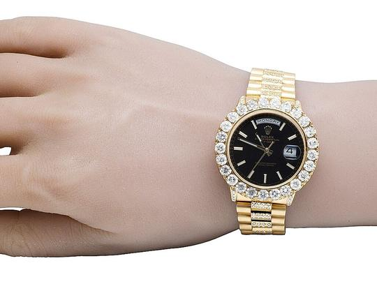 Rolex 18K Yellow Gold President Black 36MM 18038 Day-Date Diamond Watch 12Ct