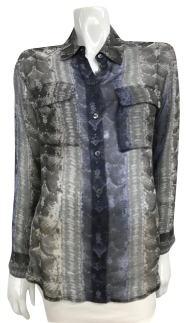 Item - Grey Silk Snake Print Blouse Button-down Top Size 2 (XS)
