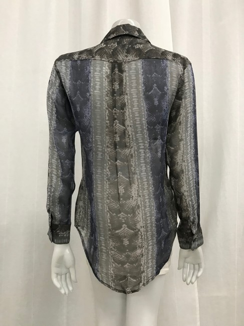 Equipment Silk Snake Print Extra Small Button Down Shirt Grey