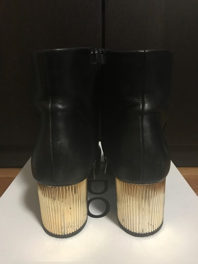 ALDO Gold Leather Black Boots