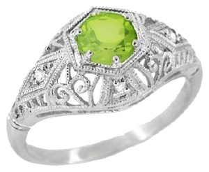 Other Peridot and Diamond Filigree Edwardian Style Ring - 14K White Gold