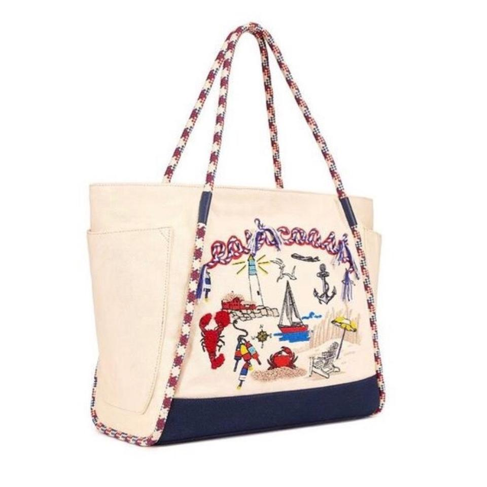 118525e2d32 Tory Burch Nautical Canvas East Coast Tote Beach Bag - Tradesy