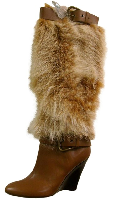 Item - Brown Leather with Fur Boots/Booties Size EU 37 (Approx. US 7) Regular (M, B)