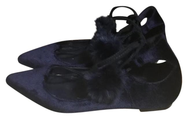 Item - Blue Pompom Flats Size US 7 Regular (M, B)