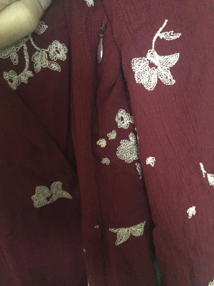 e0352af1687 Free People Marsala Red Jasmine Embroidered Short Casual Dress Size ...