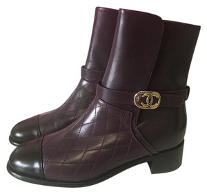Chanel Leather Midcalf Brown, Burgundy Boots
