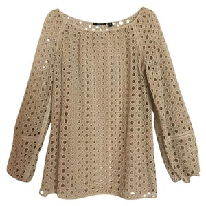 Carlisle Eyelet Longsleeve Woven Cut-out Lace Top Tan, Gold