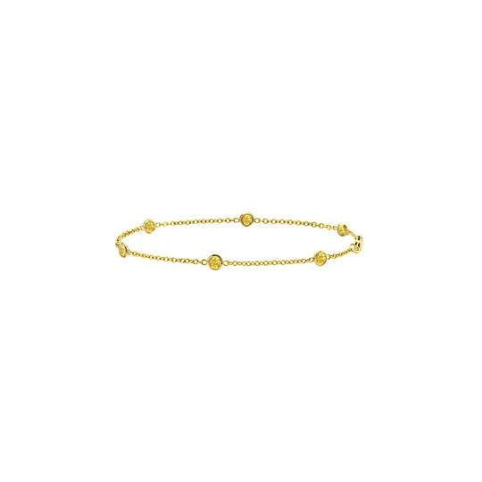 Other Yellow Sapphire Station Bracelet Bezel Set in 14K Yellow Gold