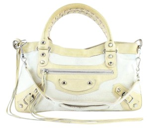 Balenciaga First Twiggy City Fast Satchel in White x Beige