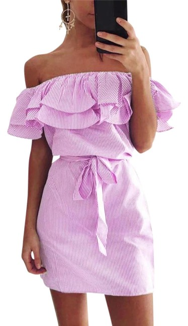 Preload https://img-static.tradesy.com/item/22340844/pink-ruffle-off-shoulder-mid-length-short-casual-dress-size-8-m-0-1-650-650.jpg