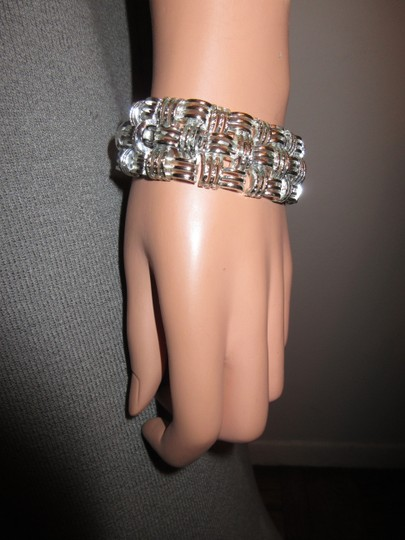 Other Vintage Coro Basketweave Textured Link Bracelet Silver Tone Signed