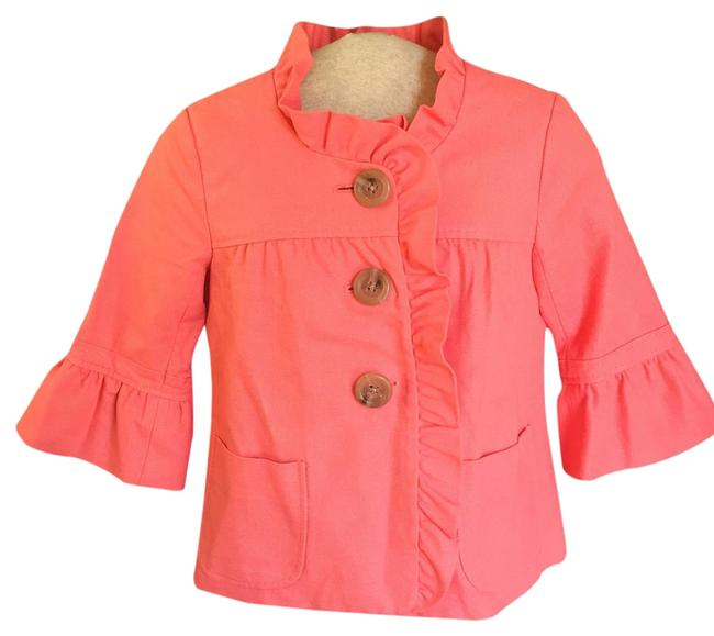 Item - Coral Cotton Tweed Ruffle Jacket Size 0 (XS)