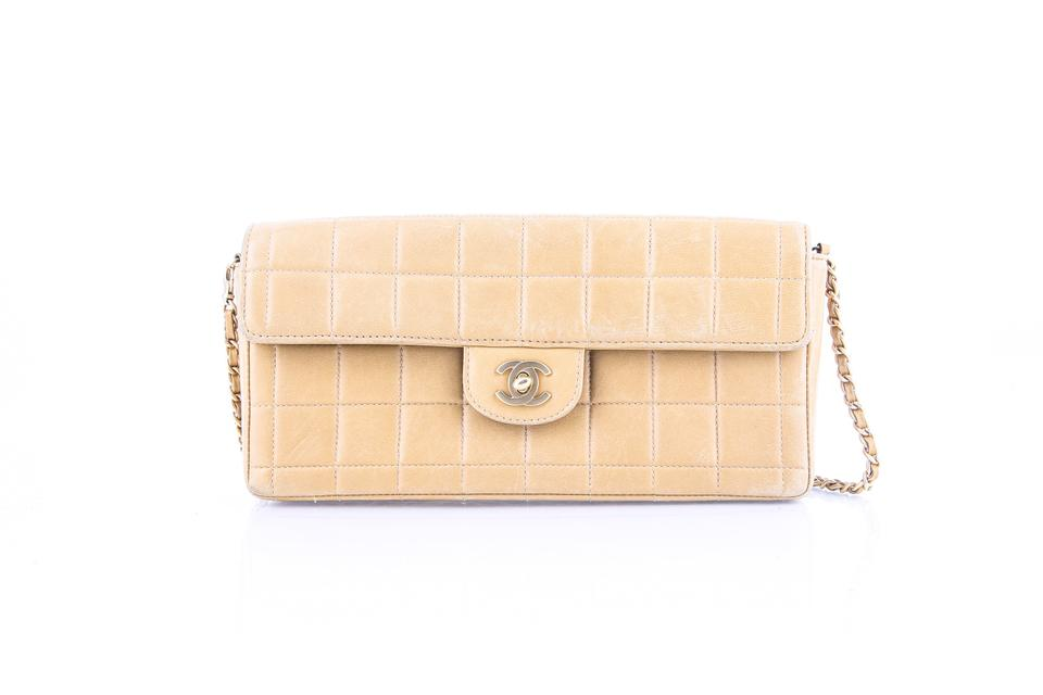 078c9d1357c1 Chanel East West Chocolate Bar Flap Beige Lambskin Leather Shoulder ...