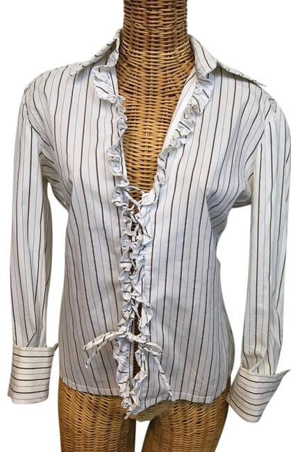 Preload https://img-static.tradesy.com/item/22341175/trina-turk-white-and-brown-strip-small-long-sleeve-tie-front-ruffled-blouse-size-4-s-0-1-650-650.jpg