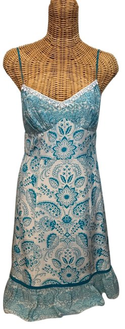Preload https://img-static.tradesy.com/item/22341221/ann-taylor-loft-turquoise-and-white-spaghetti-strap-silk-with-beads-short-casual-dress-size-2-xs-0-1-650-650.jpg