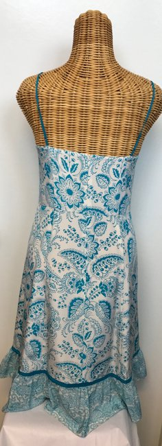 Ann Taylor LOFT short dress Turquoise & White Floral Beaded Lined Silk on Tradesy
