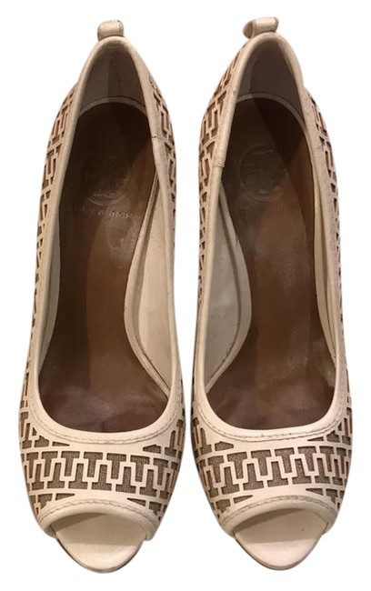 Tory Burch White T Pumps Leather and Burlap Platforms Size US 9.5 Regular (M, B) Tory Burch White T Pumps Leather and Burlap Platforms Size US 9.5 Regular (M, B) Image 1