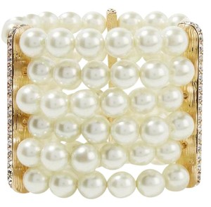 Kenneth Jay Lane KENNETH JAY LANE Faux pearl, crystal and gold-plated bracelet
