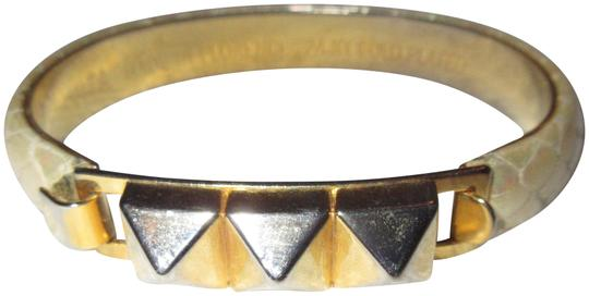 Preload https://img-static.tradesy.com/item/22341412/gold-and-off-white-24kt-plated-3-pyramid-bangle-pearl-snakeskin-hinged-bracelet-0-1-540-540.jpg