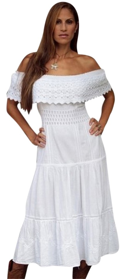 Lirome White Organic Cotton Off Shoulders Crochet Kawa Mid Calf