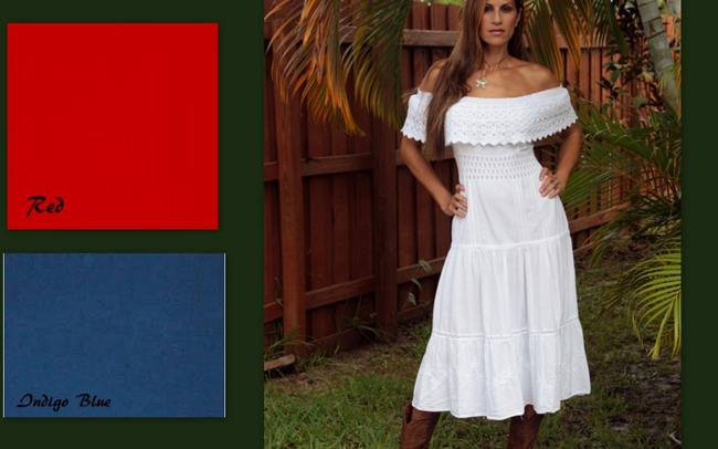 White Maxi Dress by Lirome Denim Cottage Chic Western Summer Off Shoulders