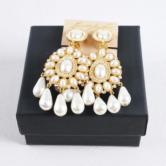 Kenneth Jay Lane Kenneth Jay Lane Goldplated Crystal And Faux Pearl Clip Earrings