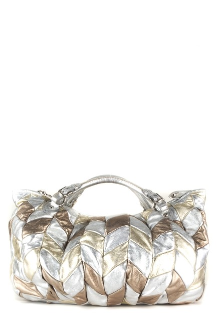 Item - Silver and Chevron Gold Metallic Leather Hobo Bag