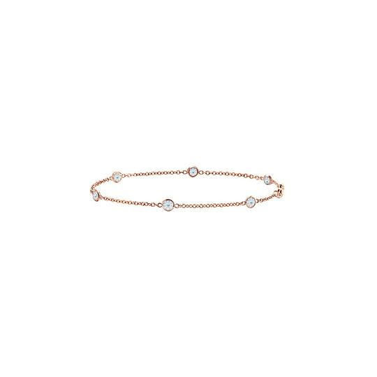 Other Synthetic White Sapphire Bracelet Bezel Set in 14K Rose Gold 7 Inches