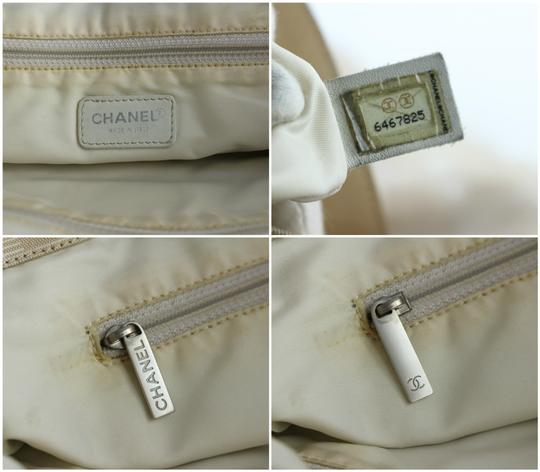 Chanel Quilted Sac Plat Shopping Shopper Canvas Tote in Beige