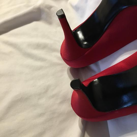 Nine West Satin Peep Toe Sexy Red Pumps