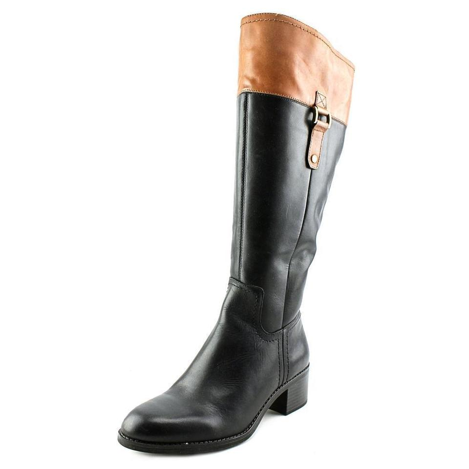 Franco Sarto Black Tan Lizabeth Wide Calf Women Knee High Boots