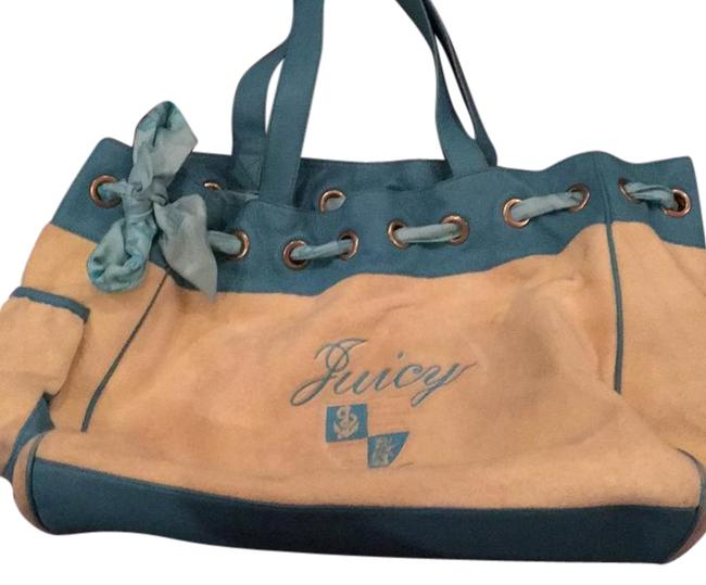 Item - Yellow and Teal Terry Cloth Material Leather Tote