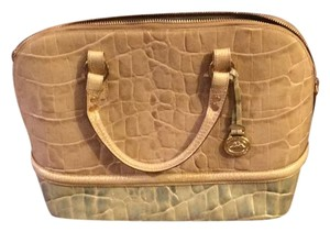 Brahmin Satchel in cream and green