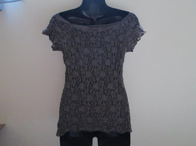 CAbi Lace Fall Autumn Winter Stretch Top Gray