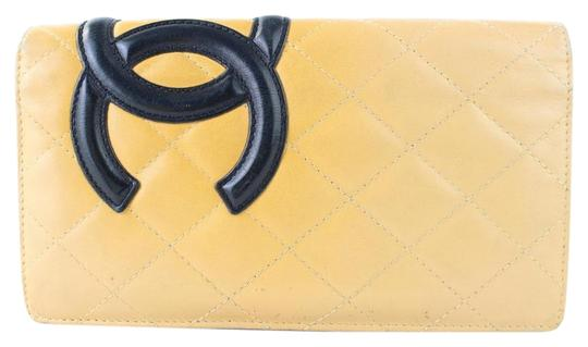 Chanel Cambon Yen Flap Bifold Quilted Long Wallet Beige Clutch