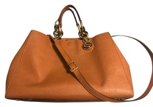 Michael Kors Next Day Shipping Leather Tortoise Shell Satchel in Cognac