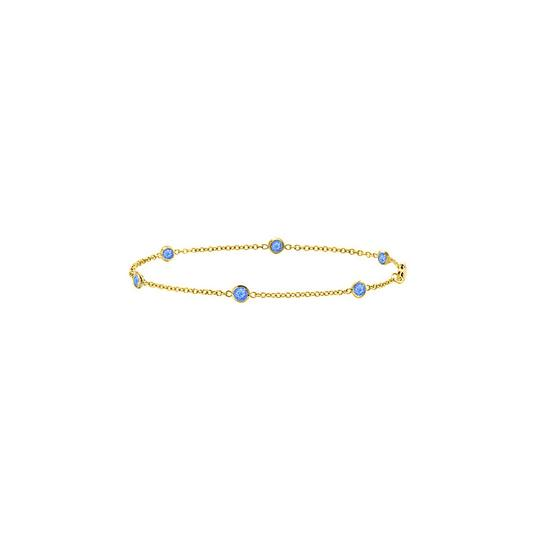 Preload https://img-static.tradesy.com/item/22341920/blue-synthetic-sapphire-bezel-set-in-14k-yellow-gold-7-inches-bracelet-0-0-540-540.jpg
