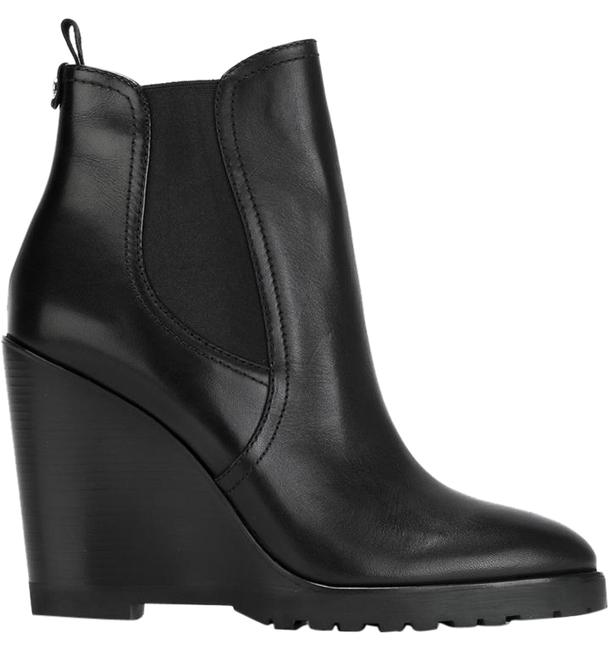 Item - Black Leather Pull On Ankle Boots/Booties Size US 5.5 Regular (M, B)