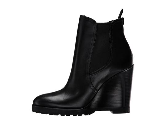Michael Kors Leather Wedge Ankle Black Boots