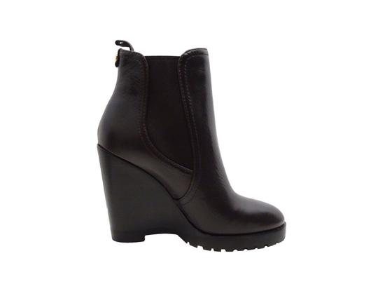 Michael Kors Leather Ankle Wedge Black Boots