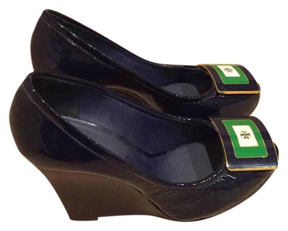 Tory Burch & Blue with Green Gold & Burch White Accent None Pumps 0a3784